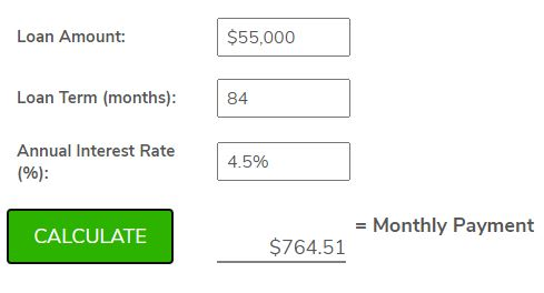 84 month auto loan example