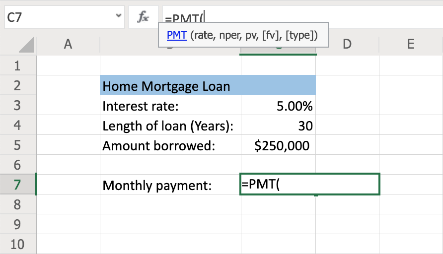 How to Use the PMT Function to Calculate Loan Payments Step 2