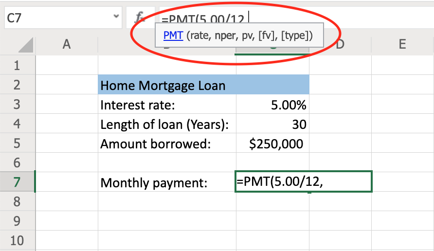 How to Use the PMT Function to Calculate Loan Payments step 3