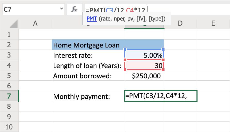 How to Use the PMT Function to Calculate Loan Payments Step 5