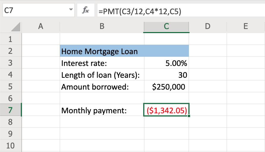 How to Use the PMT Function to Calculate Loan Payments Step 6