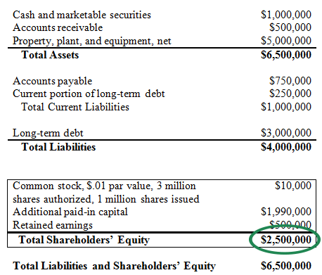 Shareholder equity report