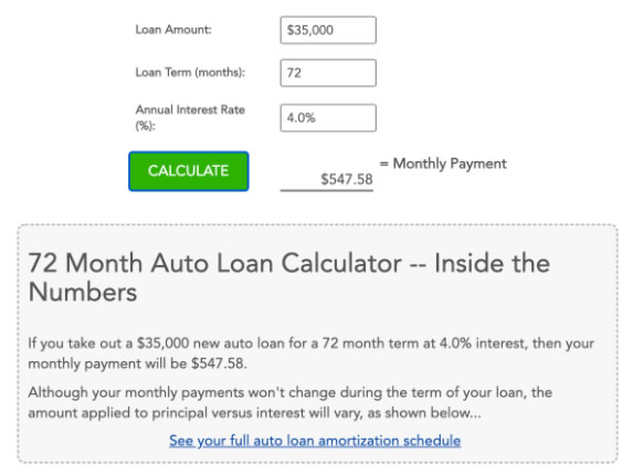 72 Month Auto Loan Calculator Investinganswers There is twelve months in one year and if you divide twelve by sixty you get 5year. 72 month auto loan calculator